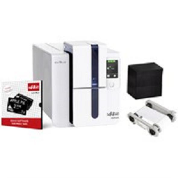 Evolis ED1H0000CD-BS003 Edikio Price Tag - Duplex Solution: 1 Edikio Duplex Printer (dual-sided, USB & ethernet) + 1 Edikio software Pro Edition +200 CR-80 black cards (PVC, matte) + 1 white monochrome ribbon (1000 prints)
