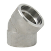 """1/2"""" 45 Elbow, Stainless Steel 3000# Socket Weld 316L A/SA182"""