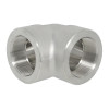 """4"""" 90 Elbow, Stainless Steel 3000# Threaded 316L A/SA182"""