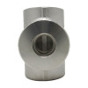 """1-1/2"""" x 1-1/4"""" Reducing Tee, Stainless Steel 3000# Threaded 316L A/SA182"""