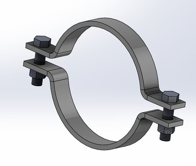 """12"""" Stainless Steel Pipe Clamp Standard T-316"""