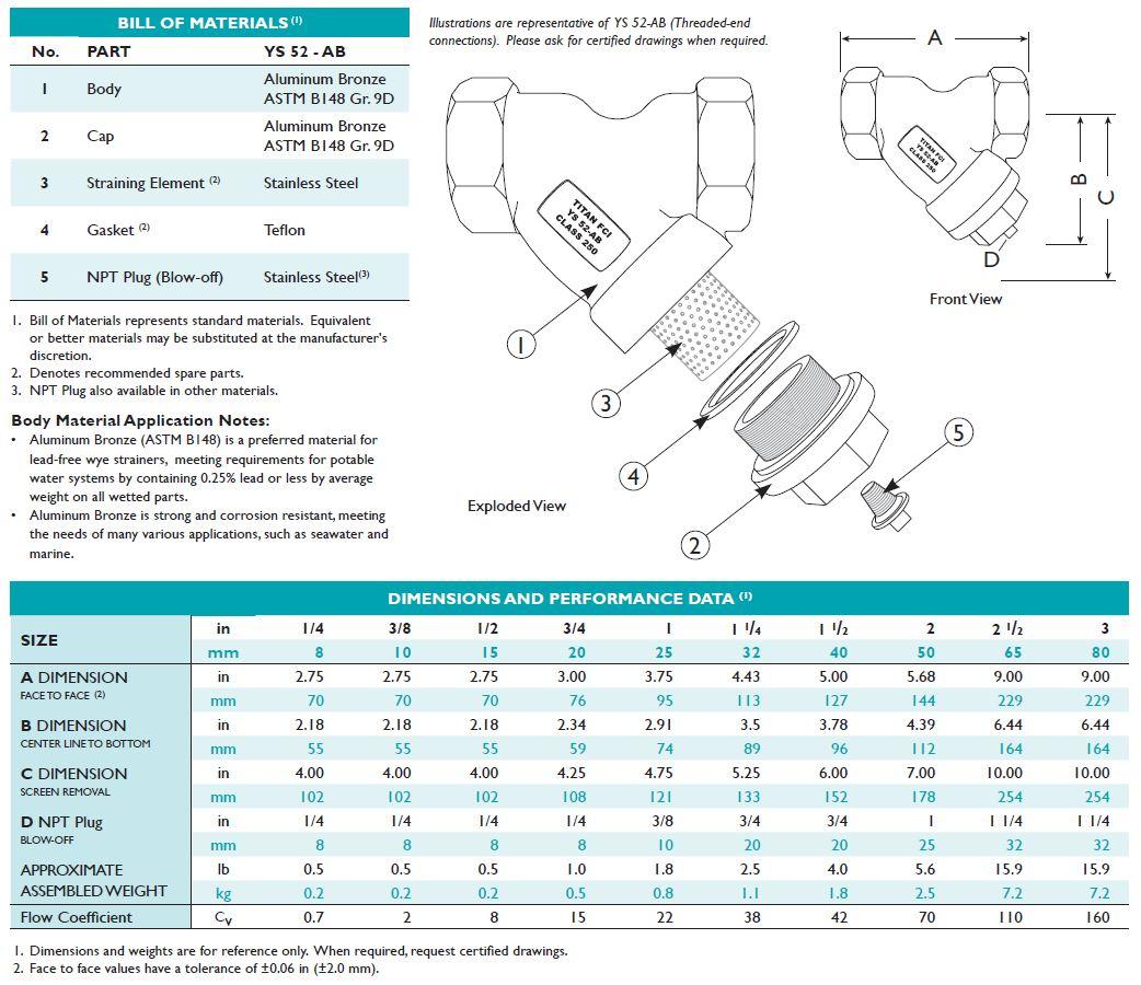 titan-ys52ab strainer dimensions