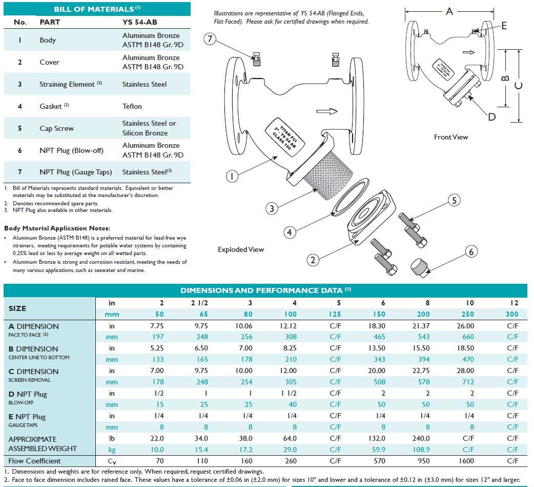 titan-ys54 strainer dimensions