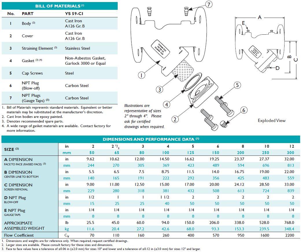 titan strainer ys59-dimensions
