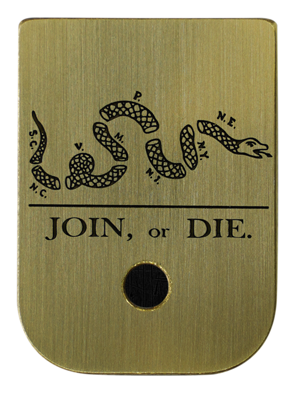 Join Or Die Brushed Finish Brass Mag Plate