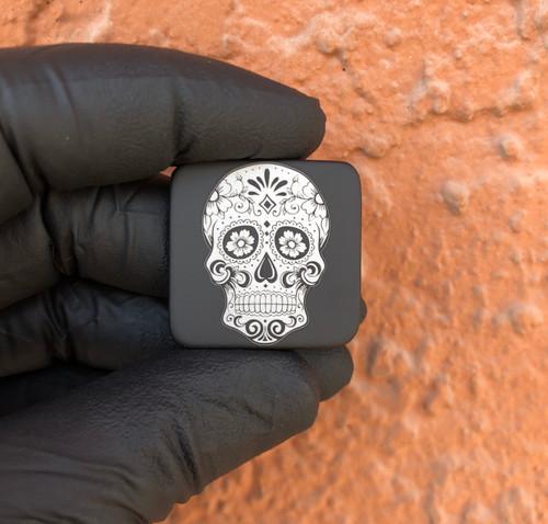 Sugar Skull - Black Aluminum Metal Patch