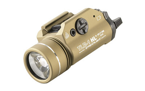 Streamlight, TLR-1 HL, High Lumen Rail Mounted Tactical Light, Pistol and Picatinny, Flat Dark Earth, C4 LED 800 Lumens With Strobe, 2x CR123 Batteries