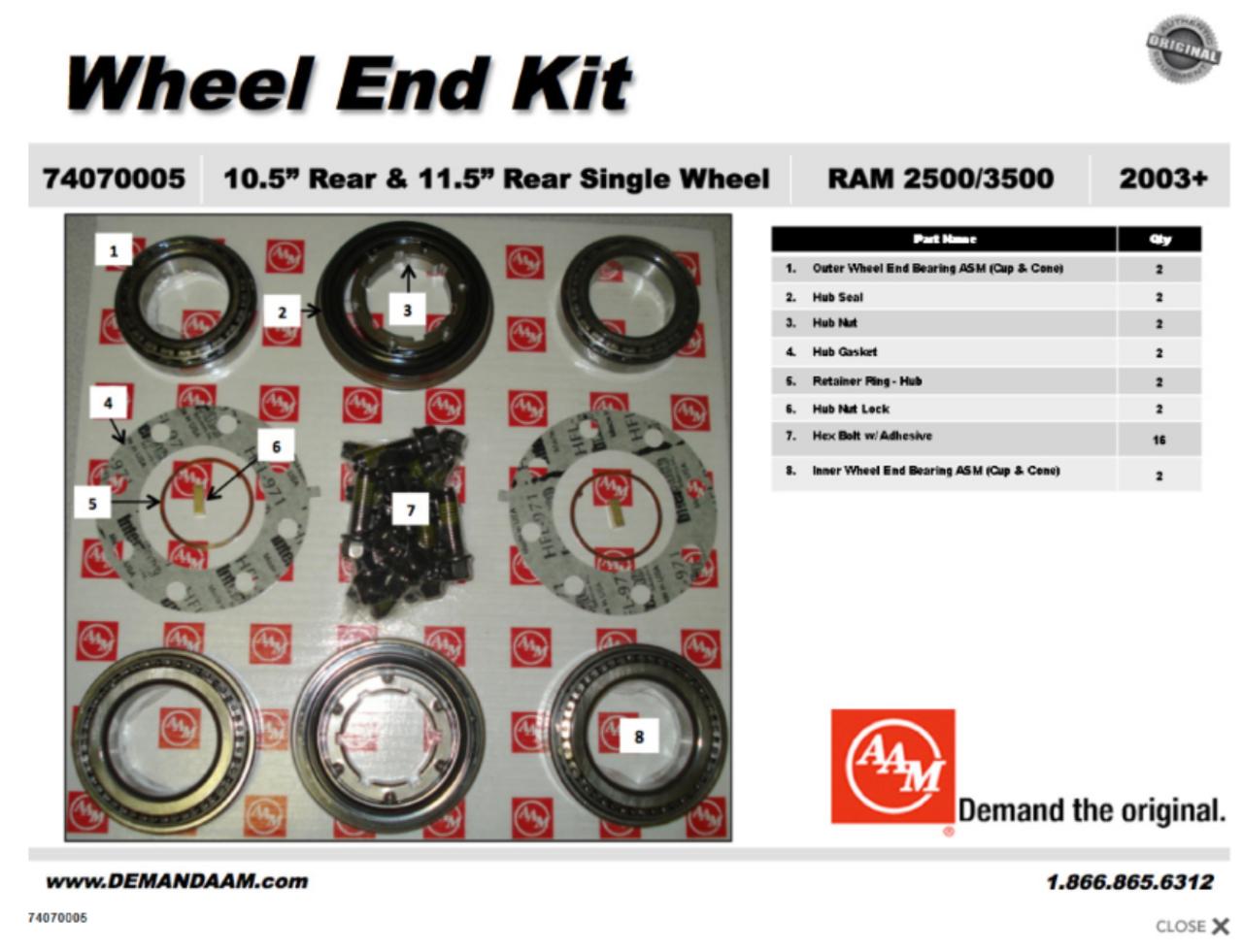 74070005 dodge 2500 3500 rear wheel end bearing kit srw aam 10 5 rh drivetrainamerica com