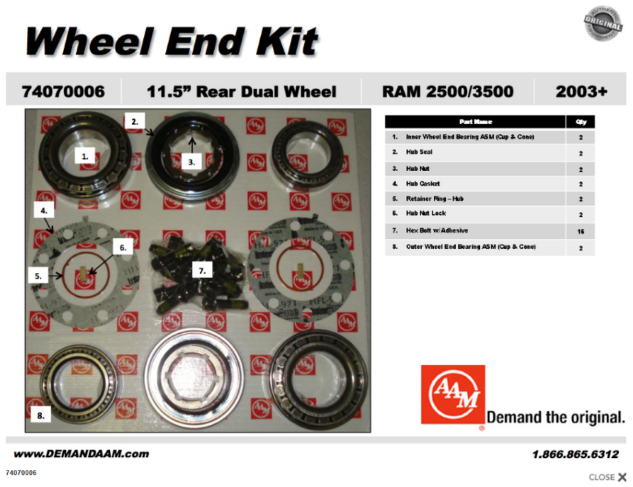 74070006 dodge 2500 3500 rear wheel end bearing kit drw aam 11 5 rh drivetrainamerica com