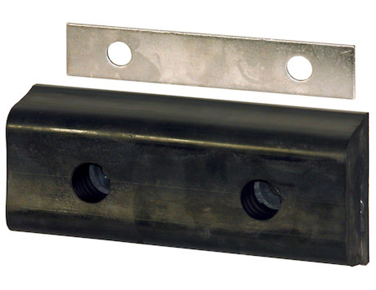 4 x 3-3//4 x 6 Inch Long Buyers Products Extruded Rubber D-Shaped Bumper with 2 Holes