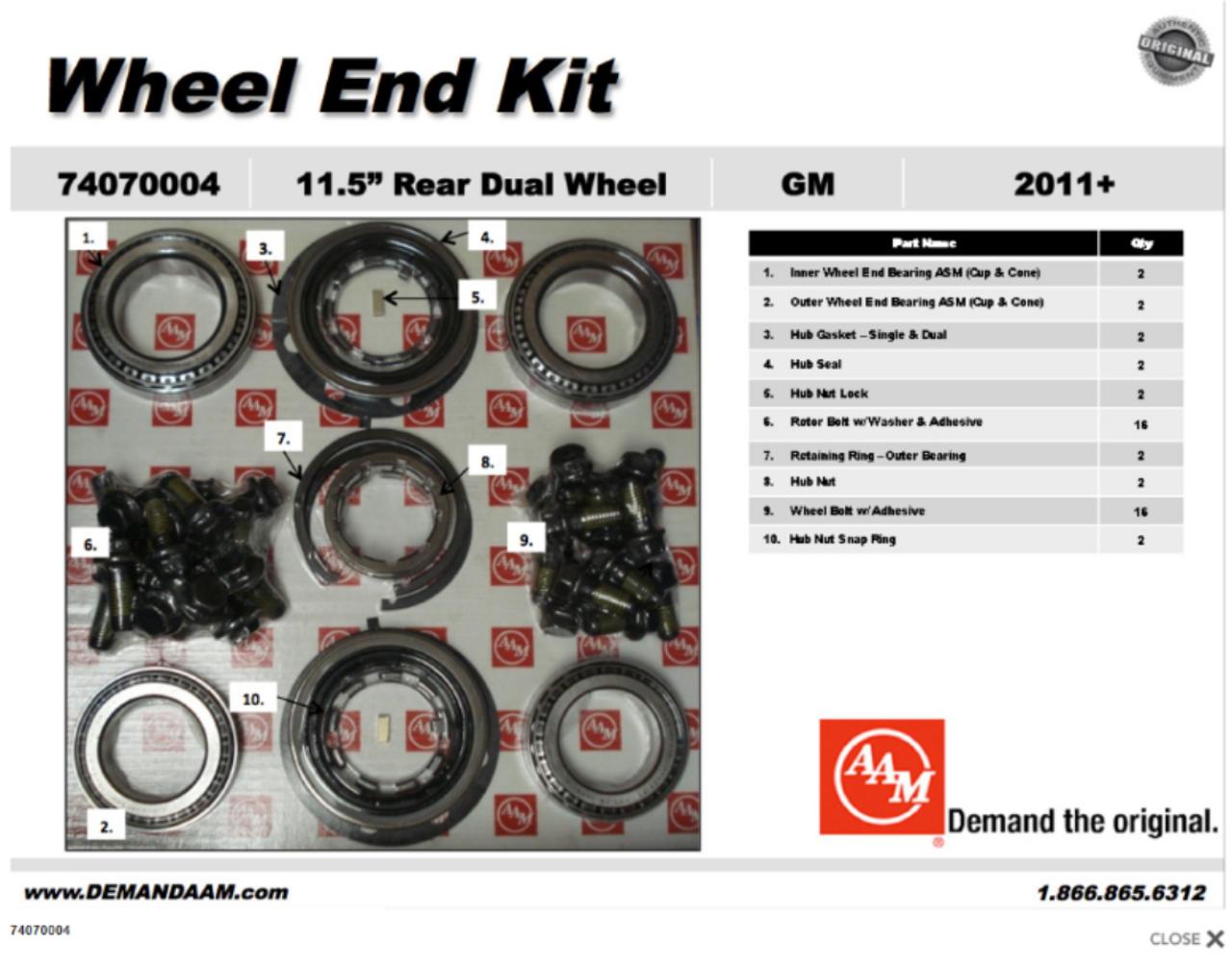 74070004 chevy 2500 3500 rear wheel end bearing kit drw gm aam 11 5 rh drivetrainamerica com