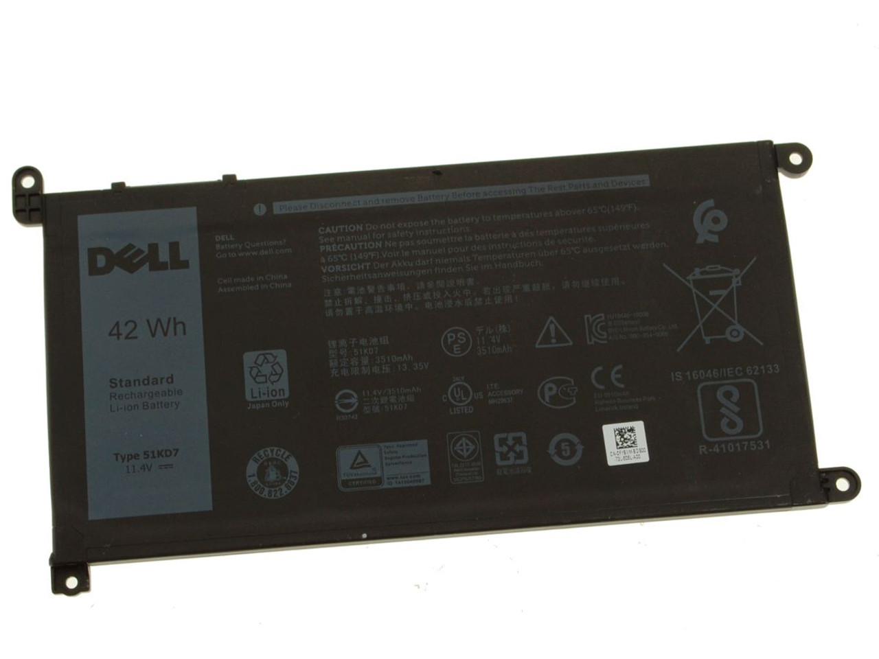 New Genuine Dell 42Wh 11.4V Battery 51KD7