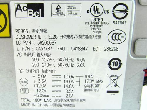 Lenovo Thinkcentre 180W Power Supply 36200087