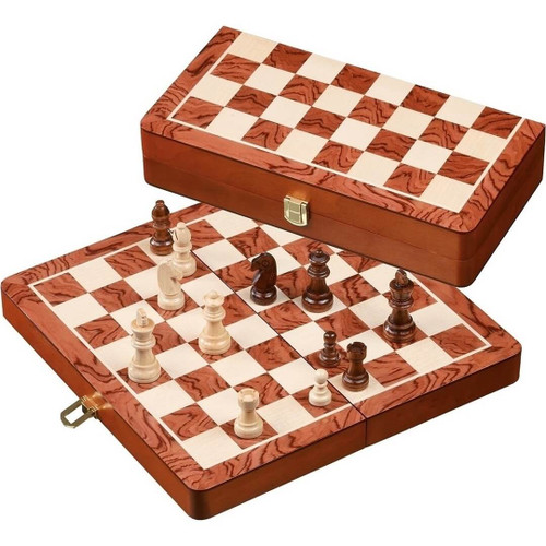 Philos Rounded Edge Inlaid Wood Chess Set 32 mm Field