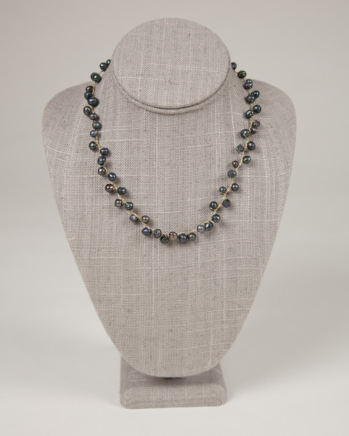 Pebble Stone Pearl Single Strand Necklace - Black & Gold