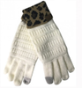 C.C Ivory Gloves With Leopard Cuff