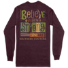 Southern Couture Believe How Strong Maroon LS