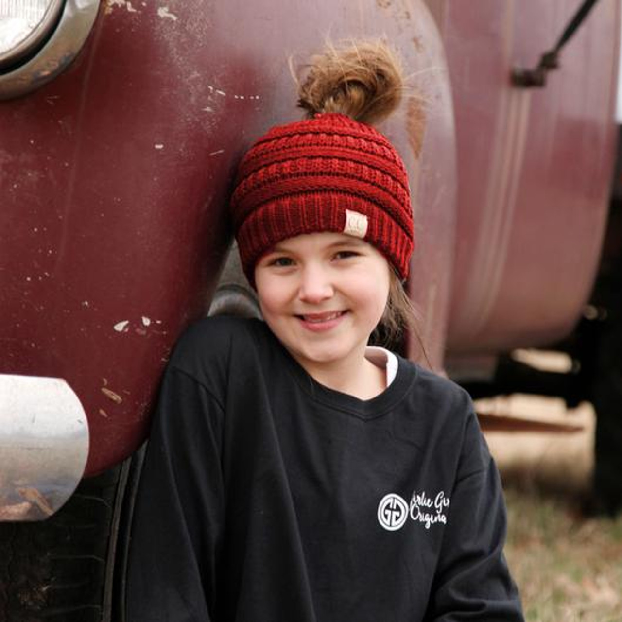 246a6d93895bb C.C. Youth Messy Bun Red Beanie - Girls Round Here
