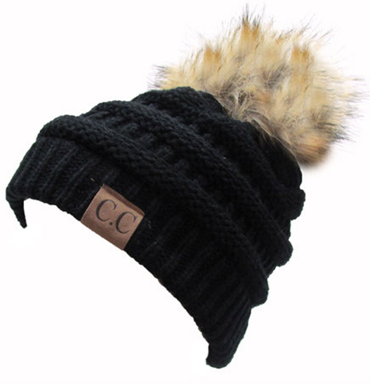 C.C Black Fur Pom Beanie - Girls Round Here 64546136b
