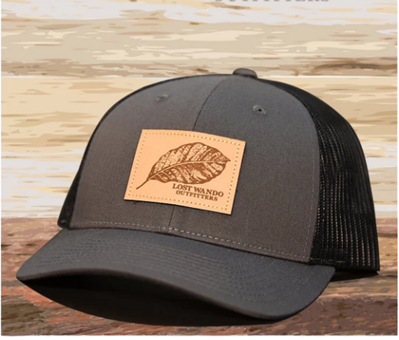36336a632 Lost Wando Tobacco Leaf Leather Patch Charcoal/Black Hat