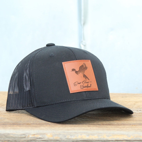 East Coast Waterfowl Black Leather Woodie Snap Back Hat