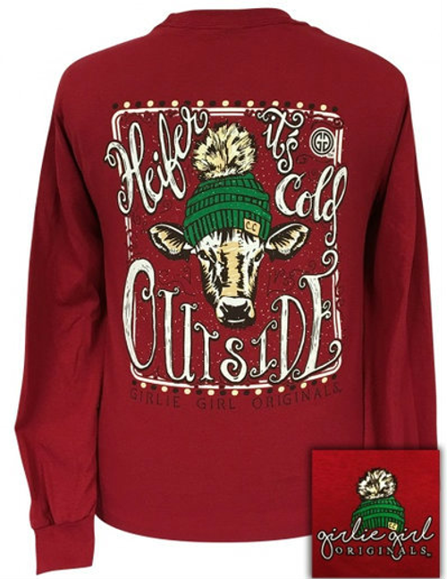 6298b0709 Girlie Girl Originals Heifer It's Cold Outside Burgundy LS - Girls ...