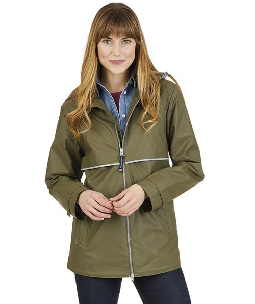 Charles River Monogrammed Raincoat Olive/Plaid