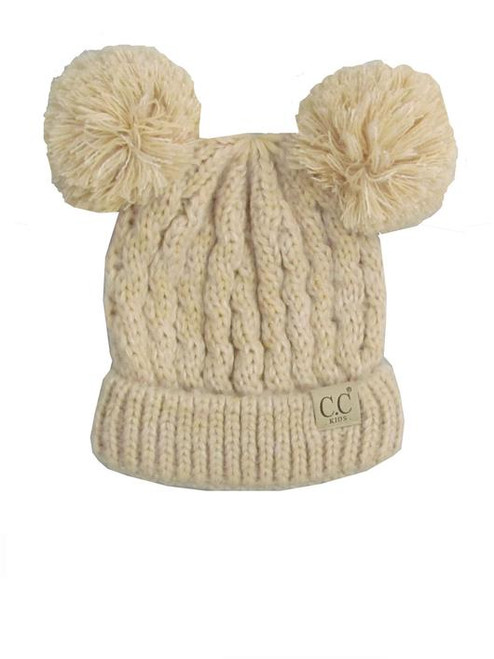C.C. Youth Double Pom Multi Color Beige Beanie