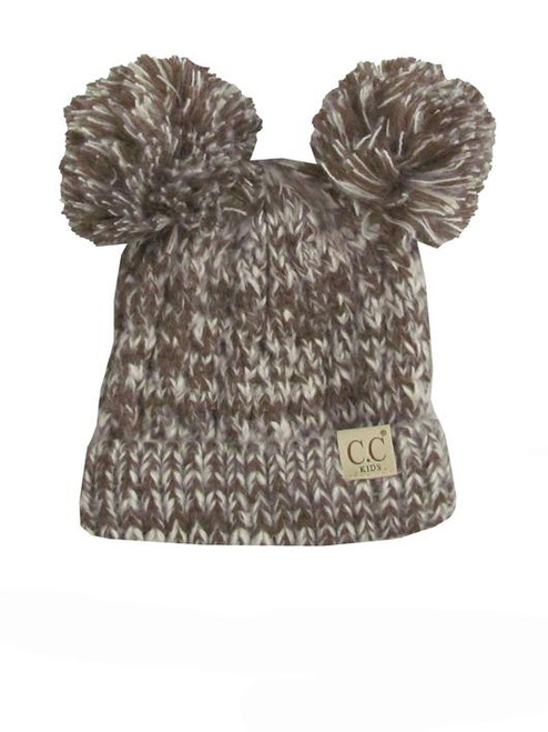 C.C. Youth Double Pom Multi Color Brown Beanie