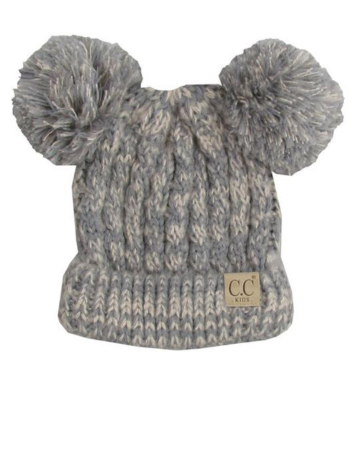 C.C. Youth Double Pom Multi Color Grey Beanie