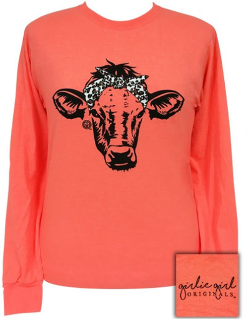 Girlie Girl Originals Coral Leopard Bandana Cow LS