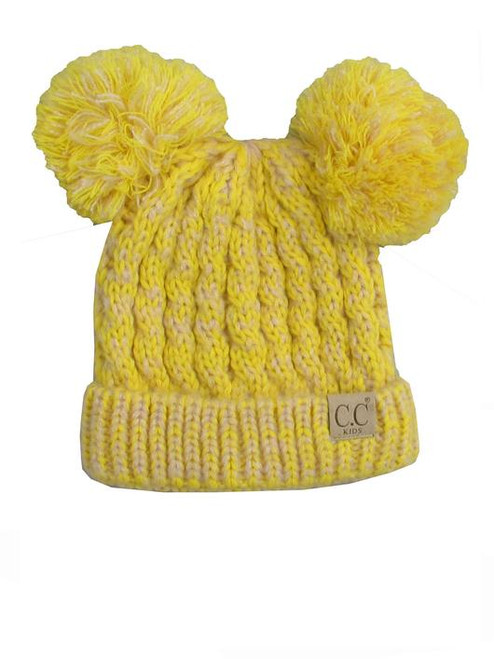 C.C. Youth Double Pom Multi Color Lemon Beanie