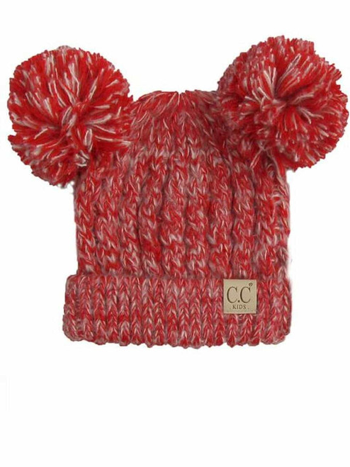 C.C. Youth Double Pom Multi Color Red Beanie