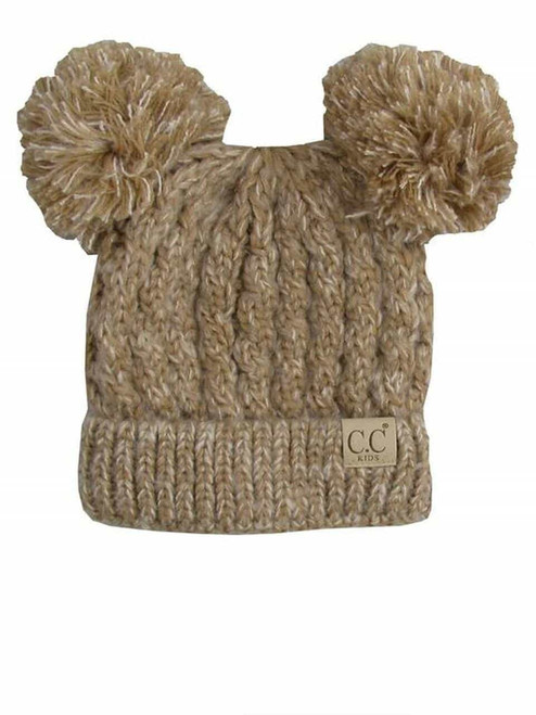 C.C. Youth Double Pom Multi Color Taupe Beanie