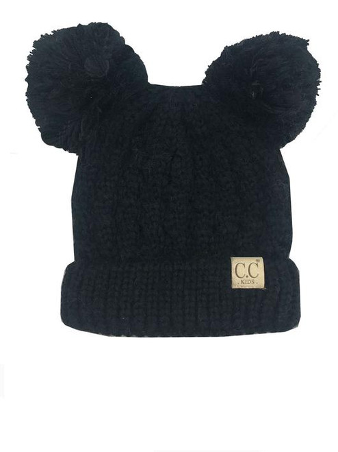 C.C. Youth Double Pom Black Beanie