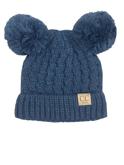 C.C. Youth Double Pom Dark Denim Beanie