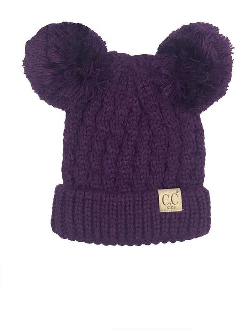 C.C. Youth Double Pom Dark Purple Beanie