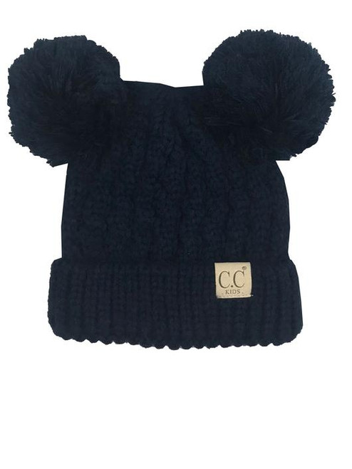 C.C. Youth Double Pom Navy Beanie
