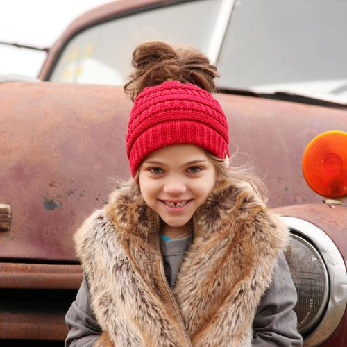 C.C. Youth Messy Bun New Candy Pink Beanie