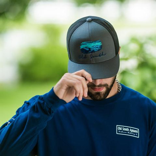 Old South Apparel Mountain Trucker Hat Graphite/Black