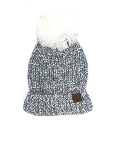 C.C. Brand Ivory/Natural Crochet Beanie with Pom