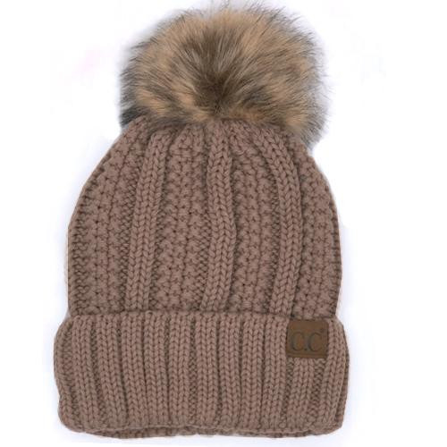 C.C. Sherpa Lined Faux Fur Pom Beanie Taupe