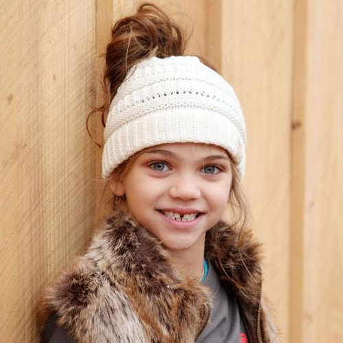C.C. Youth Messy Bun Ivory Beanie