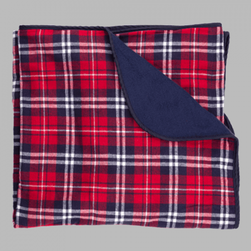 Navy And Red Flannel Blanket