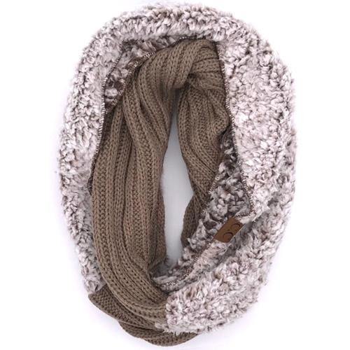 C.C. Sherpa Infinity Scarf Taupe Heather