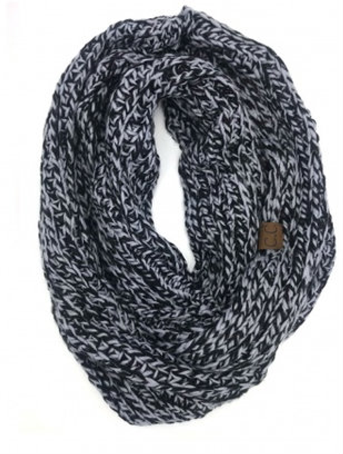 C.C Black Grey Crochet Scarf