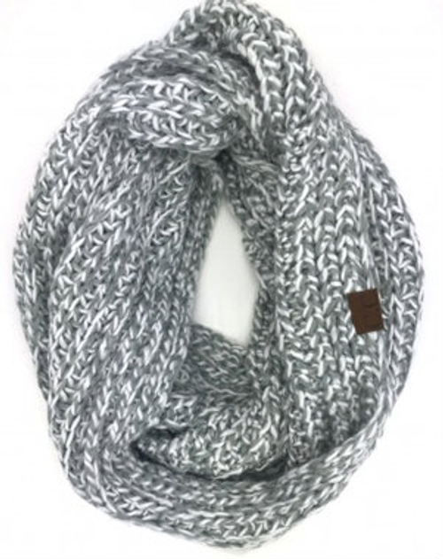 C.C Ivory Natural Grey Crochet Scarf