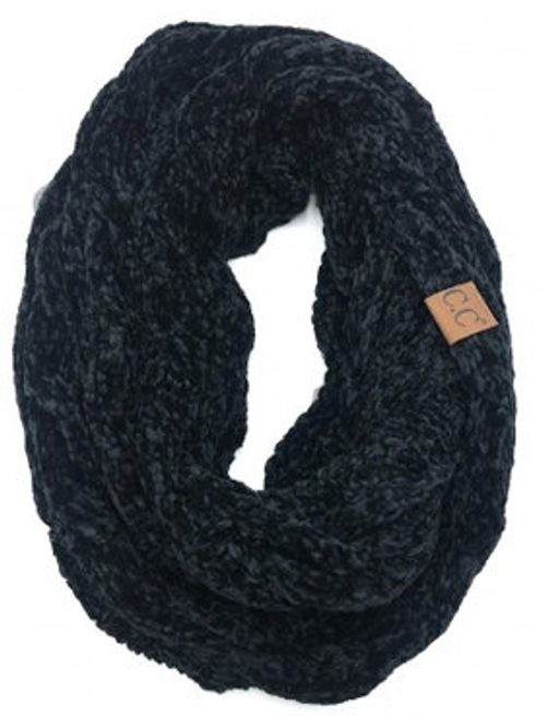 C.C Black Velour Scarf