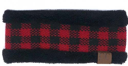 C.C Buffalo Plaid Black Red/Black Headwrap