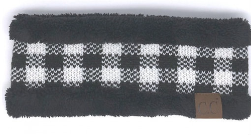 C.C Buffalo Plaid Black White/Black Headwrap